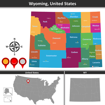 Vector map of Wyoming with counties and location on US map