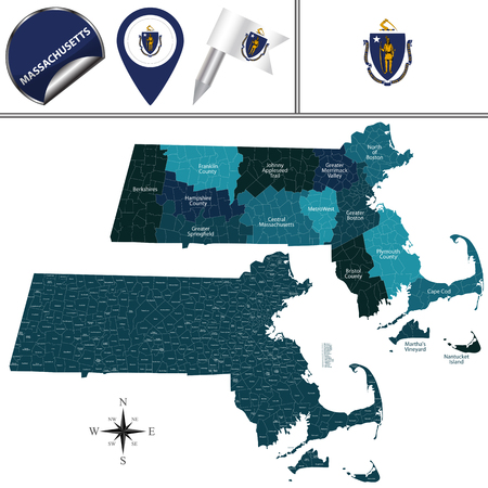Vector map of Massachusetts with named regions and travel icons