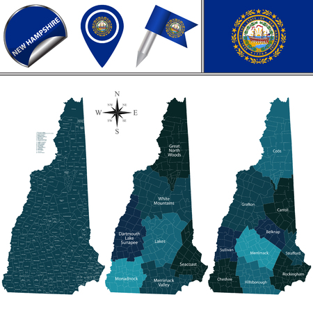 Vector map of New Hampshire with named regions and travel icons  イラスト・ベクター素材