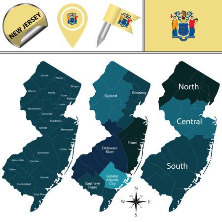 Vektorkarte von New Jersey mit benannten Regionen und Reisesymbolen Vektorgrafik