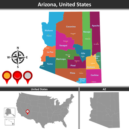 Vector map of Arizona with counties and location on US map