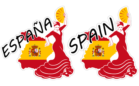 Vector illustrations of stickers of lettering word Spain or Espana (Spanish language) with flamenco dancer and map