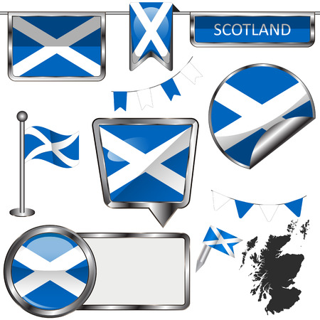 Vector glossy icons of flag of Scotland in the United Kingdom Illustration