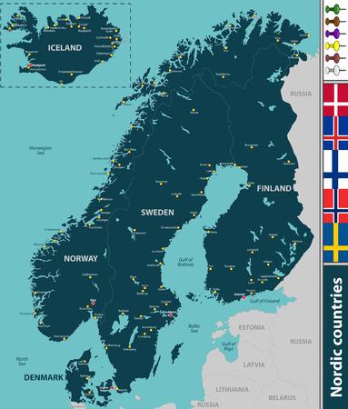 Wektorowa mapa krajów nordyckich z dużymi miastami i flagami