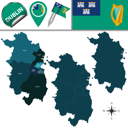 Vector map of Dublin with named counties and travel icons