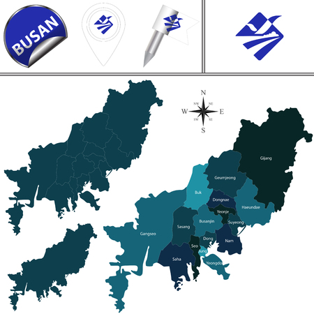 Vector map of Busan in South Korea with named districts and travel icons