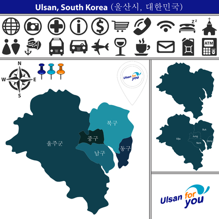 Vector map of Ulsan, South Korea with named districts and travel icons.  Districts are signed in original korean language Ilustração