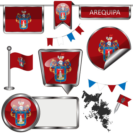 Vector glossy icons of flag of Arequipa city, Peru on white Vectores