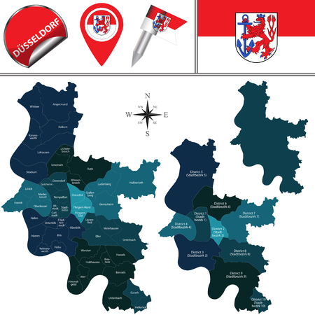 Vector map of Dusseldorf with districts or bezirk, Germany with named districts  and travel icons Illustration