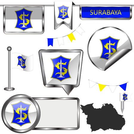 Vector glossy icons of flag of Surabaya, Indonesia on white Illustration