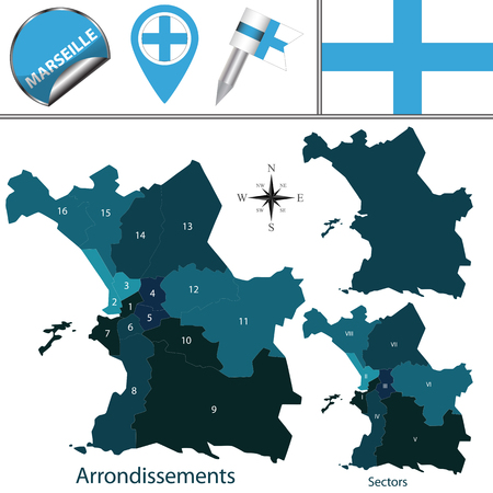 Vector map of Marseille, France with named sectors and arrondissements Illustration