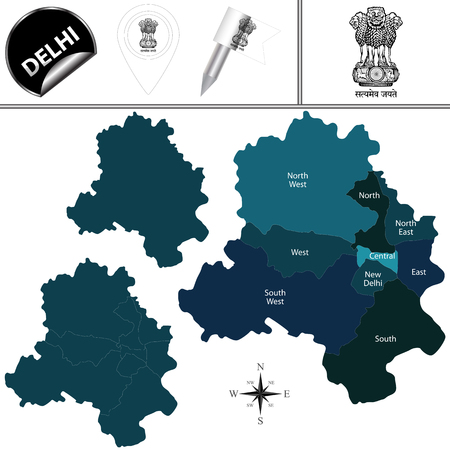 Vector map of Delhi, India with named divisions and travel icons