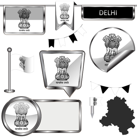 Vector glossy icons of flag of Delhi, India on white