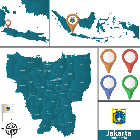 Vector map of Jakarta with named districts, pins icons and locations on Indonesian map