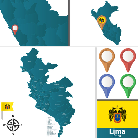Vector map of Lima with named districts, pins icons and locations on Peruvian map