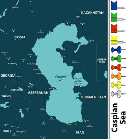 Vector map of Caspian Sea with contries and big cities