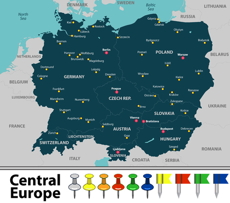 Carte vectorielle de l'Europe centrale avec les pays, les grandes villes et les icônes Vecteurs