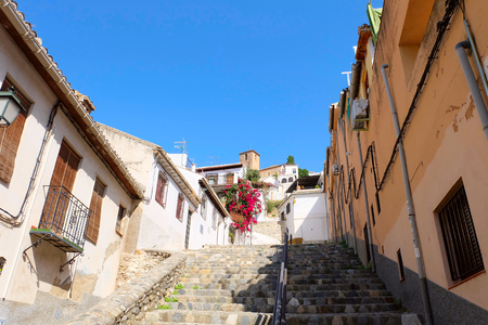Photo of Sacromonte neighbourhood in a historic center of Granada city, Andalusia region, Spain. Stok Fotoğraf
