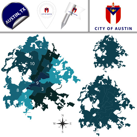 Vector map of Austin, Texas with named districts and travel icons