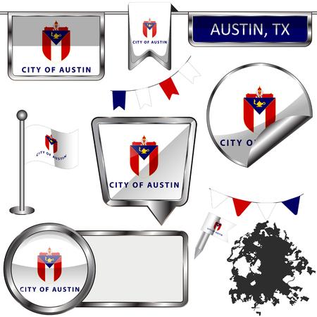Vector iconos brillantes de la bandera de Austin, Texas en blanco Ilustración de vector