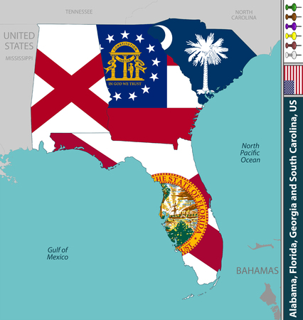 Vector states of Alabama, Florida, Georgia and South Carolina, United States with their flags inside borders