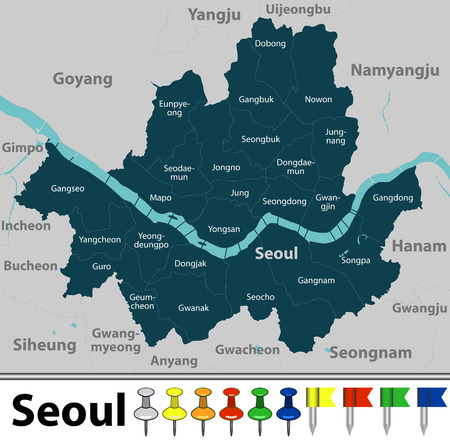Vector map of Seoul in South Korea with districts, Hangang river, neighbouring cities and icons