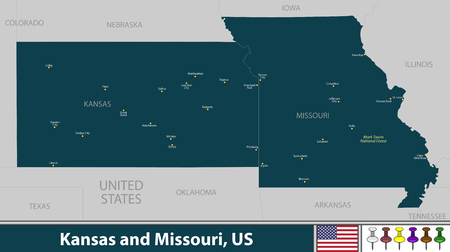 Vector of Kansas and Missouri states in Midwestern region of United States with big cities