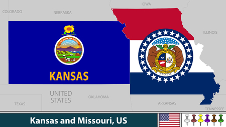 Vector of Kansas and Missouri states in Midwestern region of United States with their flags inside borders