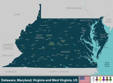 Vecteur des États du Delaware, du Maryland, de la Virginie et de la Virginie-Occidentale dans la région de la côte est des États-Unis avec de grandes villes Vecteurs
