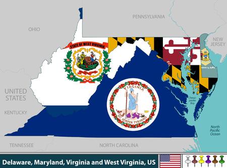 Vecteur des États du Delaware, du Maryland, de la Virginie et de la Virginie-Occidentale dans la région de la côte est des États-Unis avec leurs drapeaux à l'intérieur des frontières