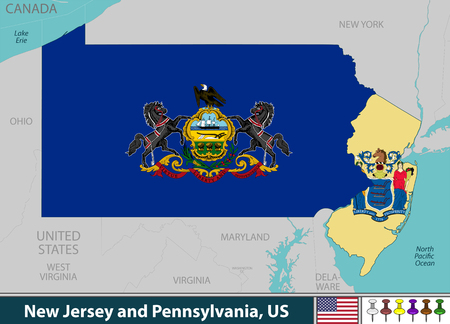 Vector of New Jersey and Pennsylvania states in East Coast region of United States with their flags inside borders Illusztráció