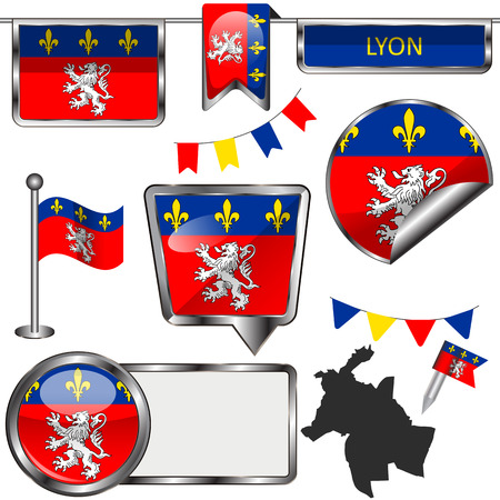 Vector glossy icons of flag of Lyon, Auvergne Rhone Alpes region in France Иллюстрация