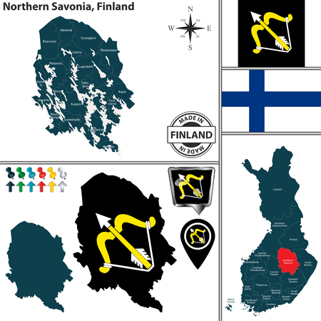 Vector map of Northern Savonia region and location on Finnish map Ilustração