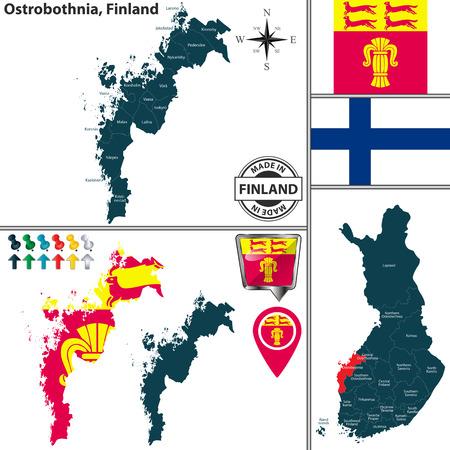 Vector map of Ostrobothnia region and location on Finnish map