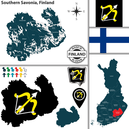 Vector map of Southern Savonia region and location on Finnish map