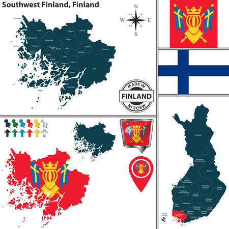 Vector map of Southwest Finland region and location on Finnish map Ilustração