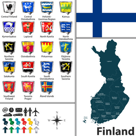 Vector map of Finland with regions with flags