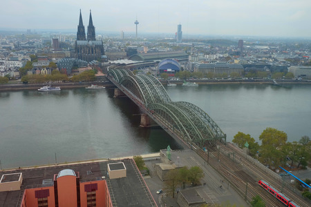 Photo of bridge and the Cathedral of Cologne, Cologne city, Germany