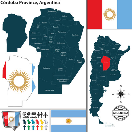 Vector map of Cordoba province and location on Argentinian map