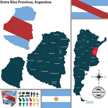 Vector map of Entre Rios province and location on Argentinian map Ilustração