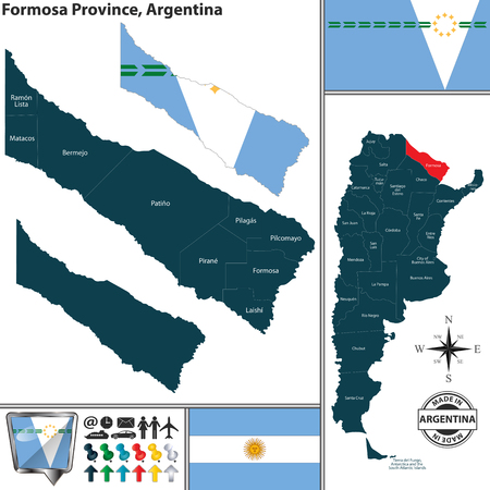 Vector map of Formosa province and location on Argentinian map