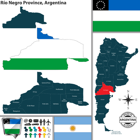 Vector map of Rio Negro province and location on Argentinian map Vettoriali