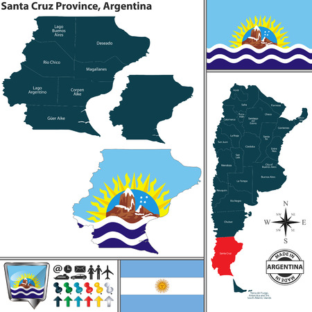 Vector map of Santa Cruz province and location on Argentinian map