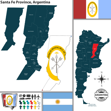 Vector map of Santa Fe province and location on Argentinian map