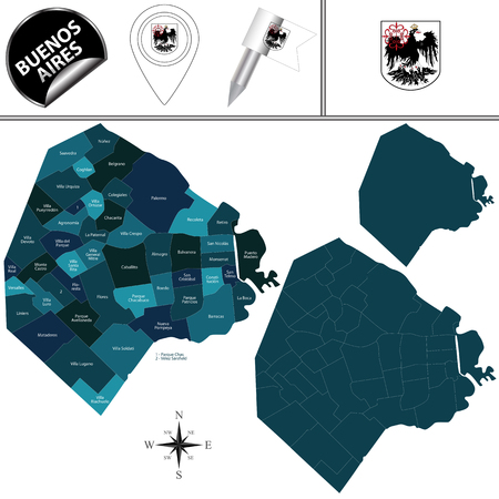Vector map of Buenos Aires city, Argentina with named barrios or neighborhoods and travel icons. 向量圖像