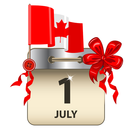 Vector of Canada Day calendar with bow and flag