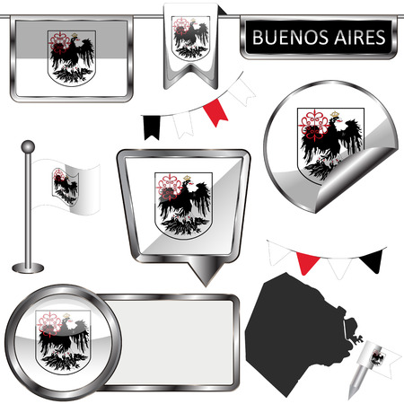 Vector glossy icons of flag of Buenos Aires, Argentina