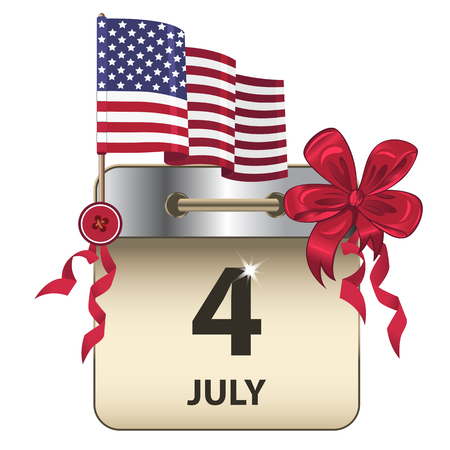 Vector of Independence Day calendar, a federal holiday in the United States, with bow and flag