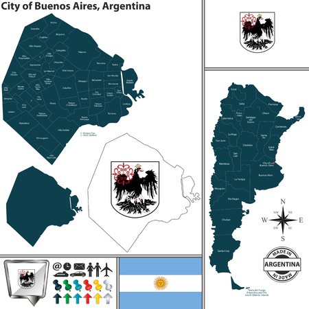 Vector map of autonomous city of Buenos Aires and location on Argentinian map