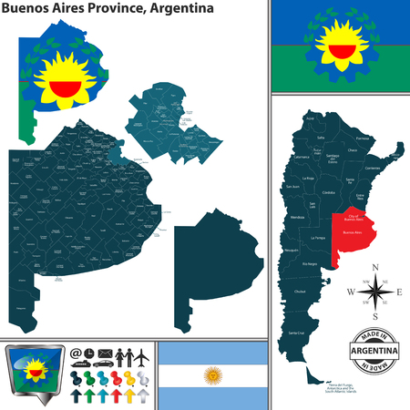 Vector map of Buenos Aires province and location on Argentinian map Vetores